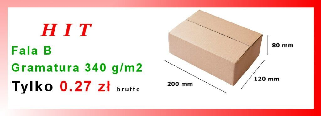 Pudełko Fala B Gramatura 340g/m2