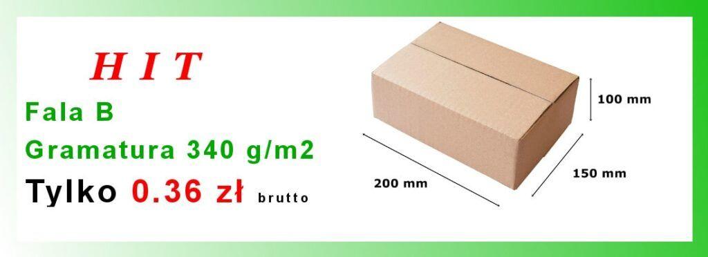 Pudełko klapowe fala B gramatura 340 g/m2